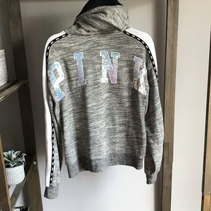 Victoria Secret PINK Bling Fur Hood Sweatshirt